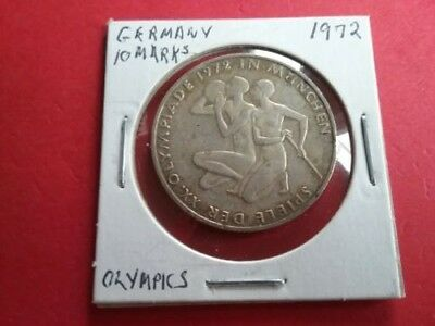 1972-G West Germany Munich Olympic Kneeling Athlete 10 Mark Silver Coin