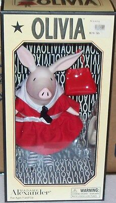 2002 Precious Olivia the Pig Doll Madame Alexander in Red day dress MIB MINT BOX