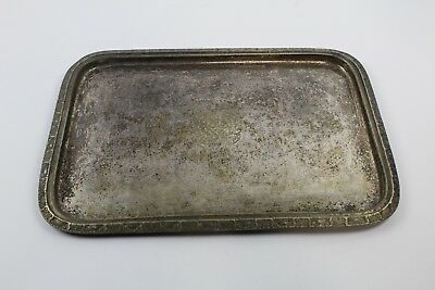 """1951 WALDORF ASTORIA Hotel Silver Soldered 16.5""""  X 12""""  Tray with Insignia"""