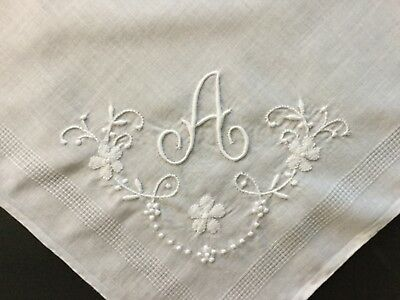 VTG Madeira Cotton White Appliqué and Embroidered Monogram A Hankie Gerbrend Tag