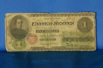1862 $1 Large Size Note Chittenden /Spinner NBN Co Printed 2x Above Border