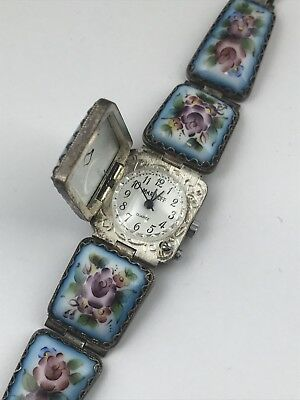 New Old Stock Russian PORCELAIN Watch Bracelet  Enamel  Filigree Finift