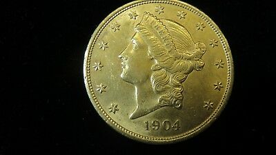 1904 $20 Dollar Liberty Gold Coin in Uncirculated Condition