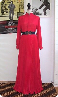 Vintage HERO PARIS Maxi S long DRESS Sheer Abend Robe Pink Plissee Goddess Boho