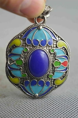 Collectable Handwork Miao Silver Carve Colorful Flower Inlay Agate Lucky Pendant