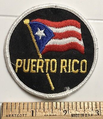 Puerto Rico Waving Puerto Rican Flag PR Souvenir Embroidered Round Patch