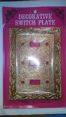 Vintage Heavy Solid Brass Triple Gang 3 Light Switch Plate Cover Gold