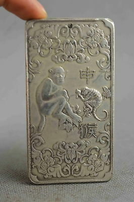 Collectable Handwork Decor Old Miao Silver Carve Longevity Monkey Lucky Pendant