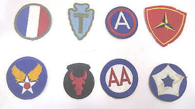 Vintage WW2 Military Cloth Patch Lot Of (8) Army Air Corp Navy Marines  (B)
