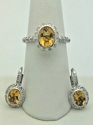 18K White Gold Natural Diamond & Citrine Drop Earrings & Ring Size 7 Jewelry Set