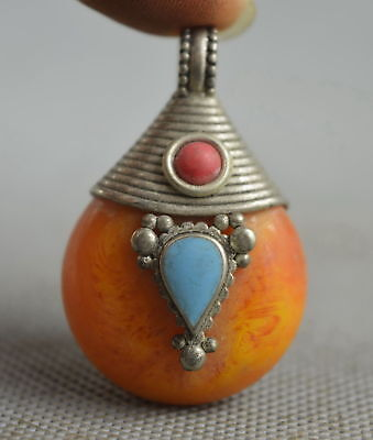 Collectable Handwork Decor Old Miao Silver Cavre Flower Inlay Amber Rare Pendant