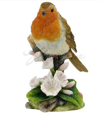 Robin Bird Figurine On Branch  Statue Sculpture  - GIFT BOXED