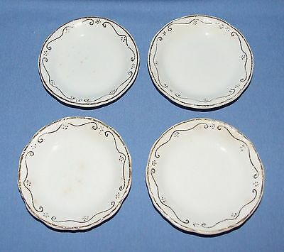 Antique White Semi-Porcelain Butter Pats- J&G MEAKIN, England-Gold Trim-Set of 4