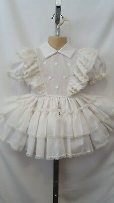 Vintage Toddler Girl Mary Louise Original White Frilly Twirl Pageant Dress 3T