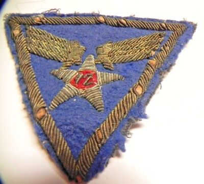 WWII shoulder patch Theater made bullion 12th Air Force /used