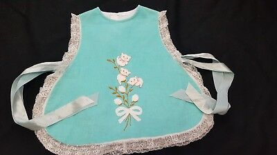 Vtg Infant Ribbon Side Tie Corduroy Kitty Embroidered Apron Pinafore 12-18 M??
