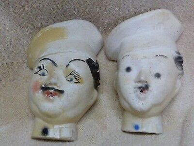 Set of Two Vintage String Holders Chef's Head