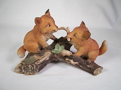 Homco Masterpiece Porcelain Red Foxes Playing with Stick 1981