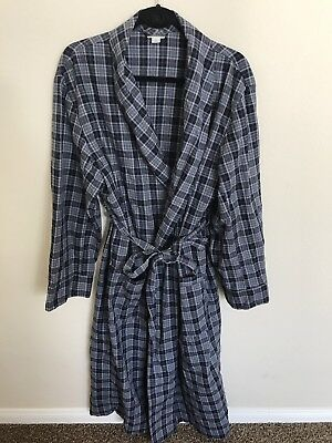 MERONA BATH ROBE Mens Size S/M blue PLAID cotton  Long Sleeve NEW