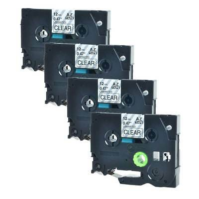 4pk Black on Clear Label Tape Compatible for Brother TZe-131 TZ131 P-Touch