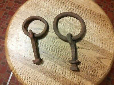 2 Antique Hand Forged Horse Hitching Post Ring w/ Threaded Bolt