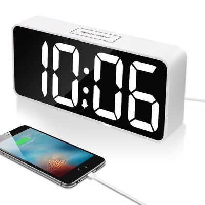 "9"" Large LED Digital Alarm Clock With Dual USB Port For Phone Charger (White)"