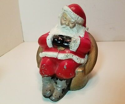 Rare 1950s Vtg ADVERTISING  Santa Claus Cast Metal Coin Bank - Massachusetts