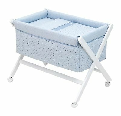 Moses Basket | Wooden Baby Cot Bed BLUE | BRAND NEW BOXED