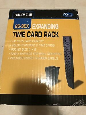 NEW! LATHEM 25-9EX EXPANDING TIME CARD RACK w/Pocket Numbers, Mounting Screws