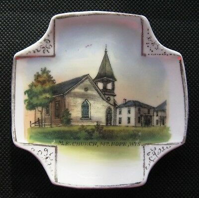 Vintage M.E. Church, Mt. Hope, Wisconsin Souvenir Plate Made in Germany
