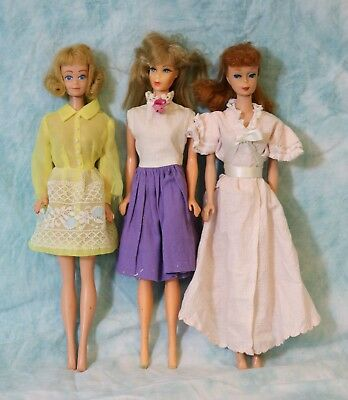 Two Vintage Barbie Dolls and One Midge by Mattel