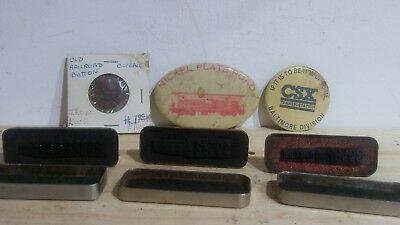 VINTAGE RAILROAD TRAIN LOT Iron King Button Nickel Plate CSX Adres Stamp Antique