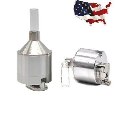 3PC Powder Grinder Metal Spice Hand Mill Funnel Snuff Snorter w/ Threaded Vial