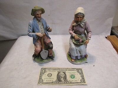 "2 Homco Old Couple Man & Wife #1433 Figurines - 8"" tall  - Estate Listing - NR"