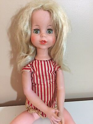 Rare 1963 Eegee Co. Puppetrina Doll Blonge Red &white Clothes 24In