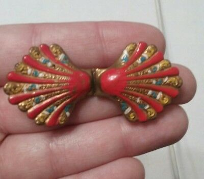 Vtg Antique Clam Shell Painted ? Red Blue White Yellow BELT BUCKLE Brass Tone
