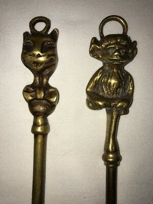 Vintage Brass Hearth Fireplace Toasting Fork Poker With Bow Tie Cat & Faun Tops