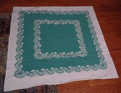 Shabby Chic Vtg Teal Green & White Tablecloth 46 x 52