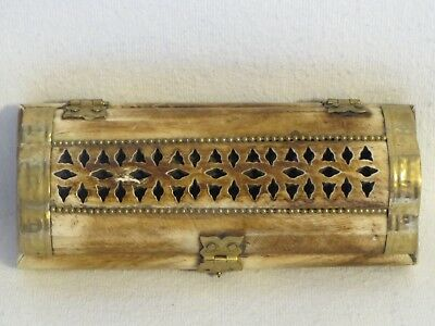 Vintage Real Carved Bone Trinket Jewelry Box with Brass Hardware From India