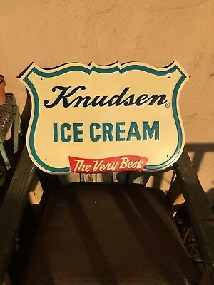 "Vtg Large Knudsen ice cream embossed metal sign 24"" Exc cond"