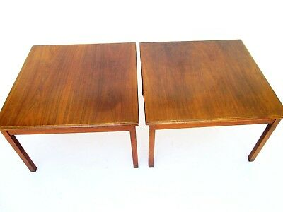 Vintage Matching Pair of Large Walnut Wood Square End Tables Side Tables