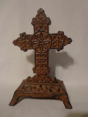 Cast Iron Religious Cross/Crucifix Rustic Home Decor