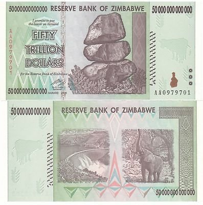 (1) 50 Trillion Zimbabwe Dollars Uncirculated Note 2008 Aa Series 50 Trillion