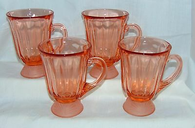 "4 Fostoria CAPTIVA SHELL *PEACH/PINK* 4 1/2"" - 9 oz FOOTED MUGS*"