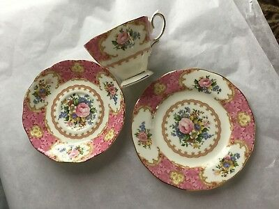 New - 3 Piece Set Royal Albert Bone China England Lady Carlyle Plate, Cup/saucer