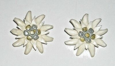 Antique Vintage Large White Carved Edelweiss Flower Clip On Earrings Pair