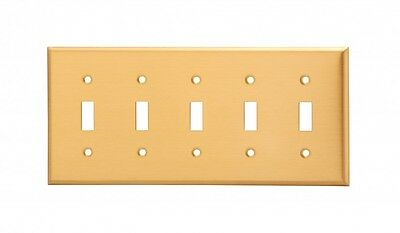 Switch Plate Brushed Solid Brass Five Toggle   Renovator's Supply