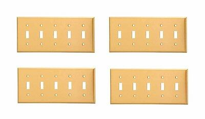 4 Switch Plate Brushed Solid Brass Five Toggle   Renovator's Supply
