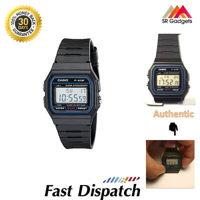 Genuine Casio F-91W Alarm Chronograph Classic Digital Strap Watch Black