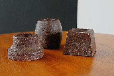 """Brutalist Industrial Style Trio Cast Iron Candle Holders """"Nuts&Bolts"""" Bold FUN!"""